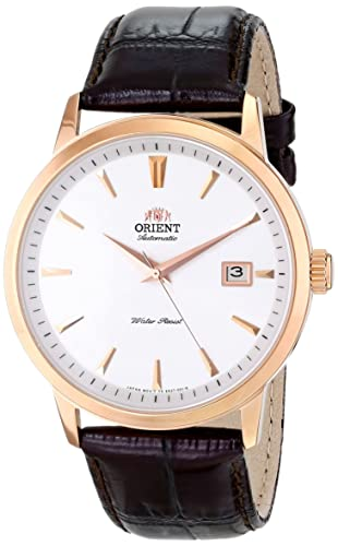 Orient Men s FER27003W0 Symphony Rose Gold ion plated solid Stainless Steel Watch with Brown Leather Band