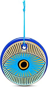 Evil Eye Glass Wall Decor for Hanging in Your Home, Office, or Business Handpainted With Blue and Gold Detail Design for House Protection Charm Ornament of Blessings Nazar Lucky Amulet