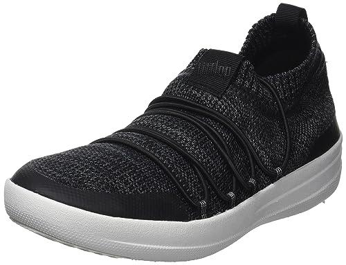 Uberknit Slip-On Sneakers, Zapatillas Altas para Mujer, Multicolour (Black/Soft Grey), 36 EU FitFlop