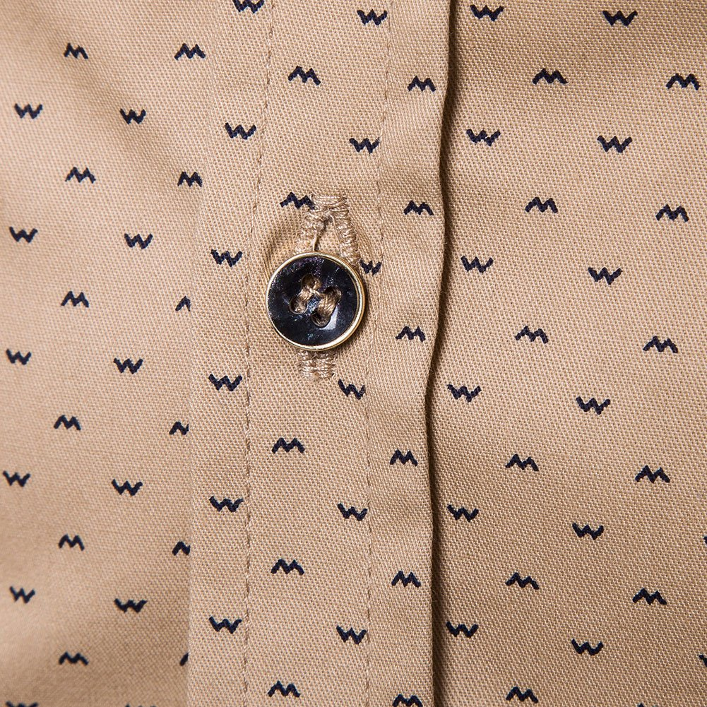 MUSE FATH Men's Printed Dress Shirt-100% Cotton Casual Long Sleeve Shirt-Button Down Point Collar Shirt-Khaki New-XL by MUSE FATH (Image #4)