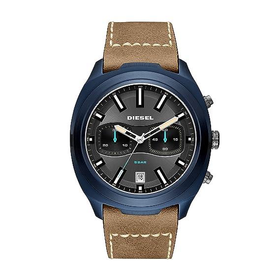 Diesel Reloj Cronógrafo para Hombre de Cuarzo con Correa en Cuero DZ4490: Amazon.es: Relojes