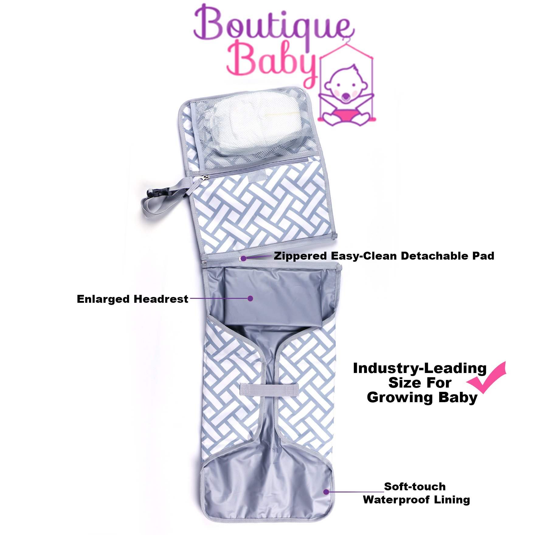 Baby Changing Pad By Boutique Baby Portable Diaper Changing Pad Station Waterproof Extra Long  Travel Clutch by Boutique Baby (Image #7)