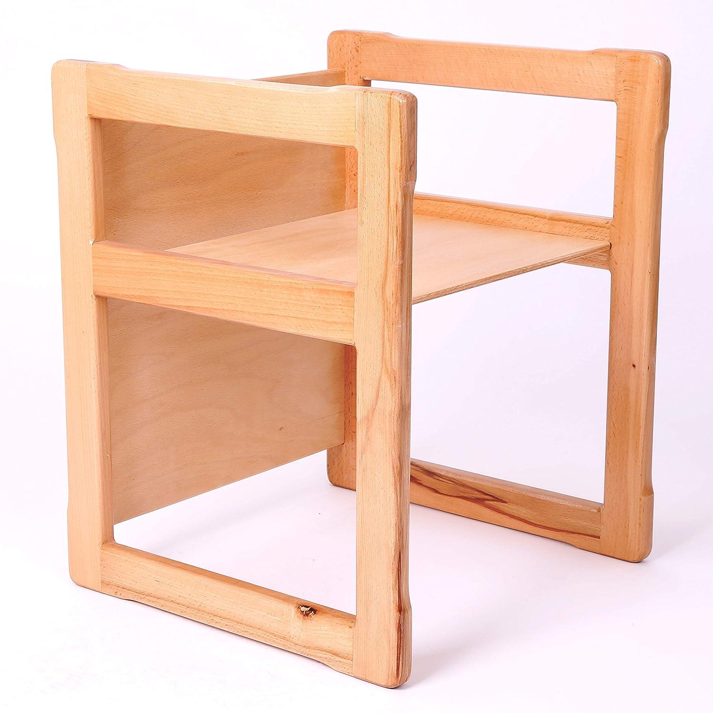 Muebles ahorradores de espacio 50 x 40 x 40 cm 34 x 34 x 34 cm. Silla y mesa Muebles multifuncionales Madera de haya Sin esquinas afiladas Muebles inteligentes 3 en 1 para ni/ños