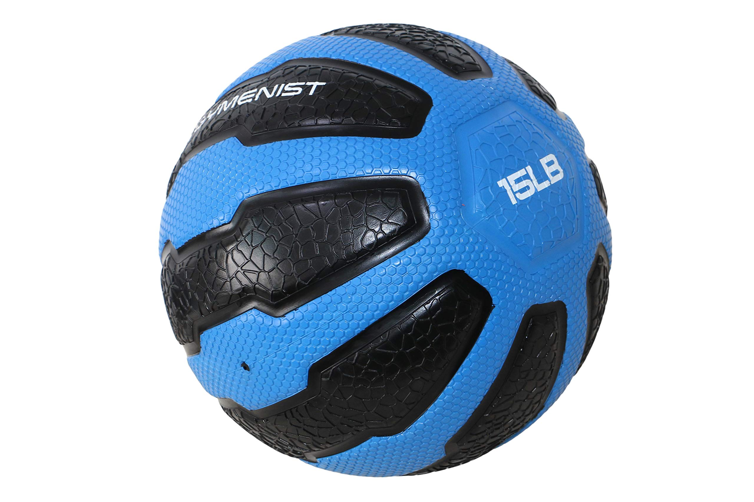 GYMENIST Rubber Medicine Ball with Textured Grip, Available in 9 Sizes, 2-20 LB, Weighted Fitness Balls,Improves Balance and Flexibility - Great for Gym, Exercise, Workouts (15-LB (Blue-Black))