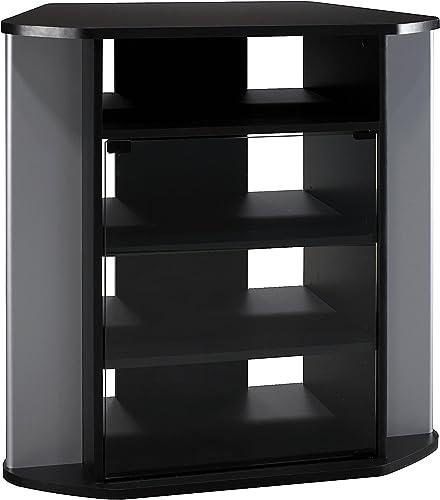 Bush Furniture Visions Tall Corner TV Stand in Black and Metallic