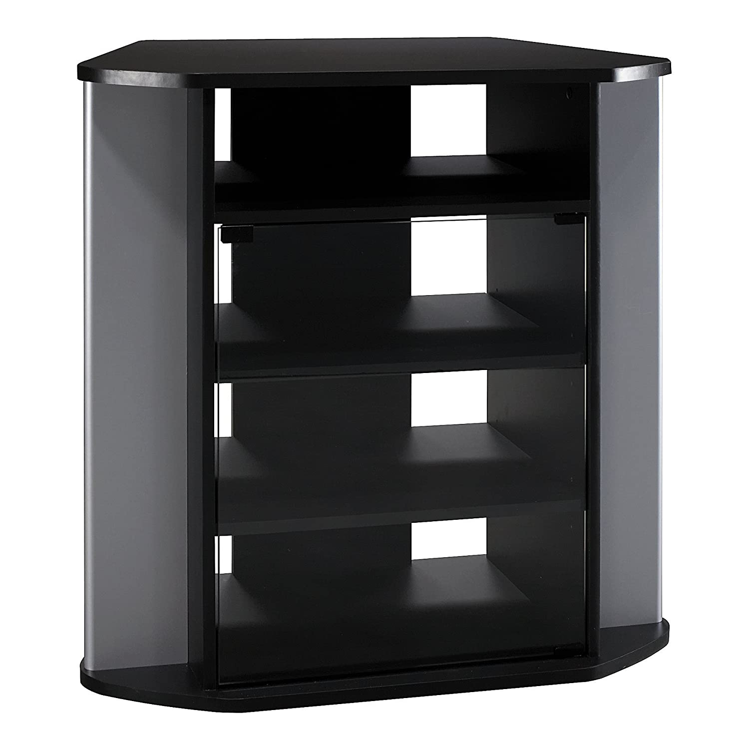 Bush Furniture Visions Tall Corner TV Stand in Black and Metallic VS97227-03