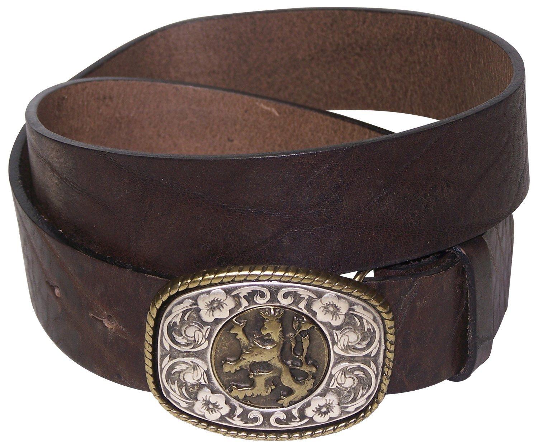 FRONHOFER Men's natural leather belt, Bavarian coat of arms, lion buckle, Size:waist size 47.5 IN XXL EU 120 cm, Color:Brown by Fronhofer (Image #1)