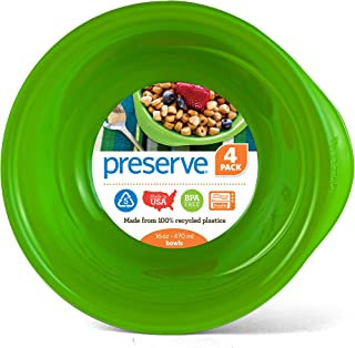 product image for Preserve Everyday 16 Ounce Recycled Plastic Bowls, Set of 4, Apple Green