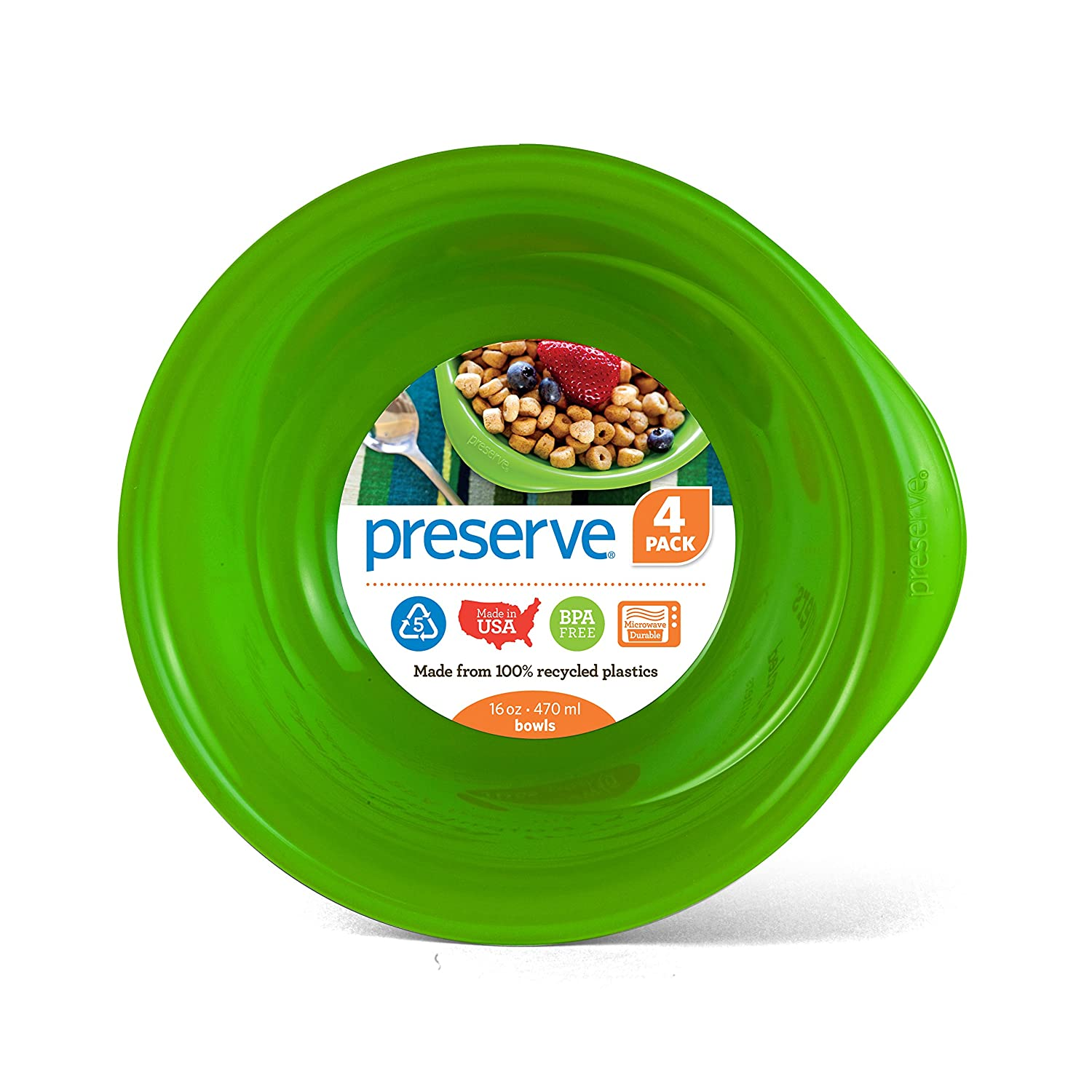 Preserve Everyday 16 Ounce Bowls, Set of 4, Apple Green