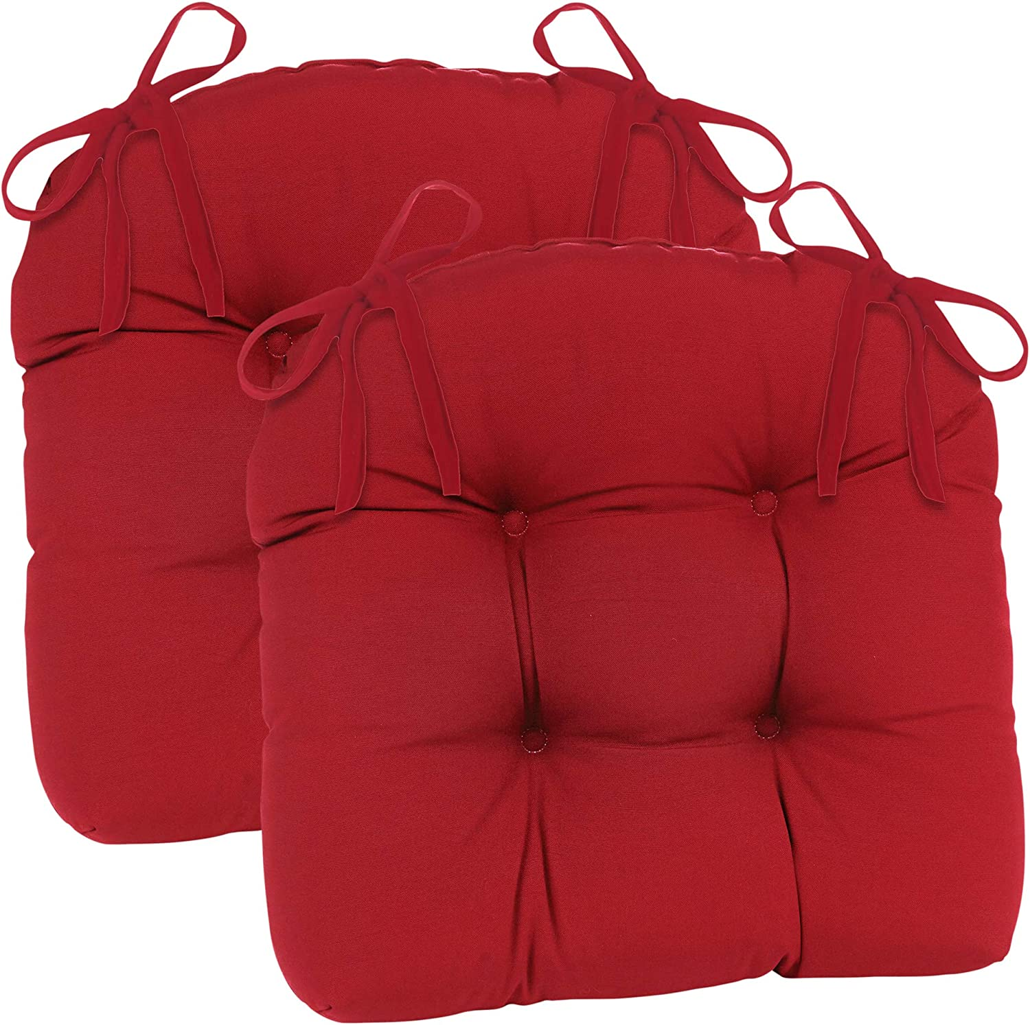 Klear Vu Wicker Solarium Indoor/Outdoor Tufted Chair Cushions, 2 Pack, Red 2 Count