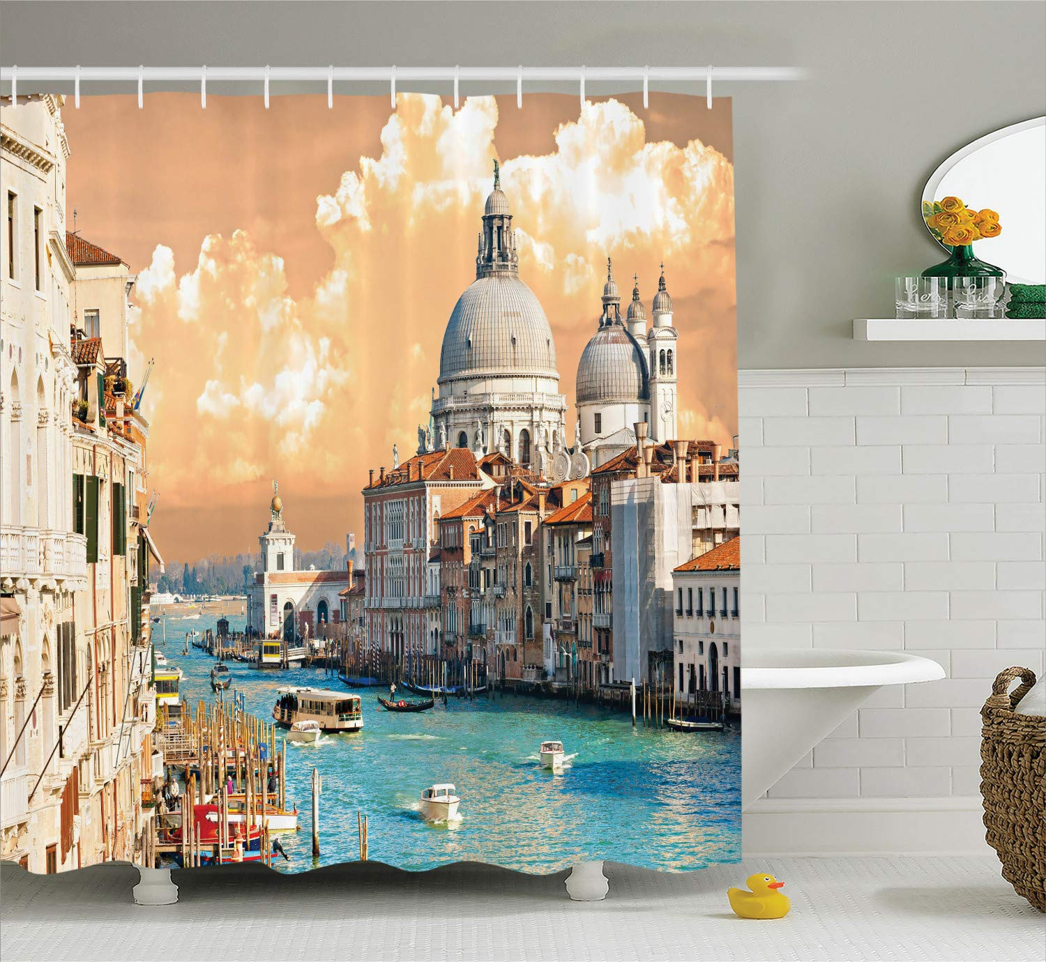 Ambesonne European Shower Curtain, Grand Canal in Venice Italy Historic European Cityscape Town Tower Boho Print, Cloth Fabric Bathroom Decor Set with Hooks, 75'' Long, Multicolor