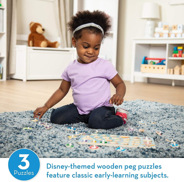 Melissa & Doug Disney Peg Puzzle Bundle-Alphabet, Numbers, Shapes & Colors: Toys & Games