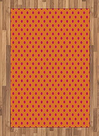 Amazon Com Ambesonne Orange And Pink Area Rug Abstract Polka