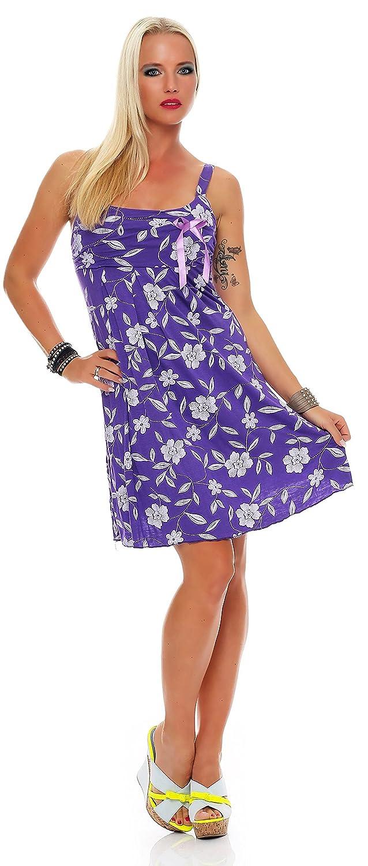 Damen Kleid Made in Italy Grün Blau Lila Lagenlook Trägerkleid Blumen Muster Mini Sommer Kleid Gr. S / M