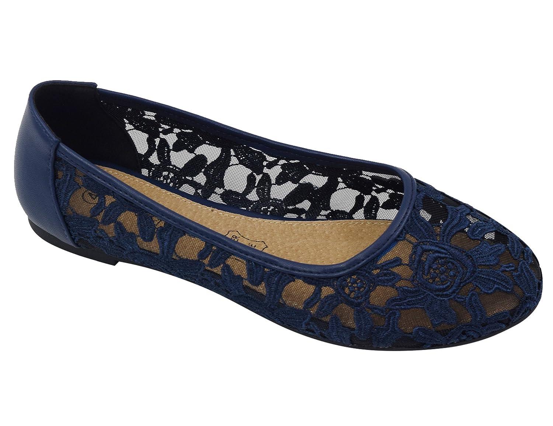 Greatonu Damen Geschlossene Ballerninas Spitze Flache Sandalen  37 EU|Blau