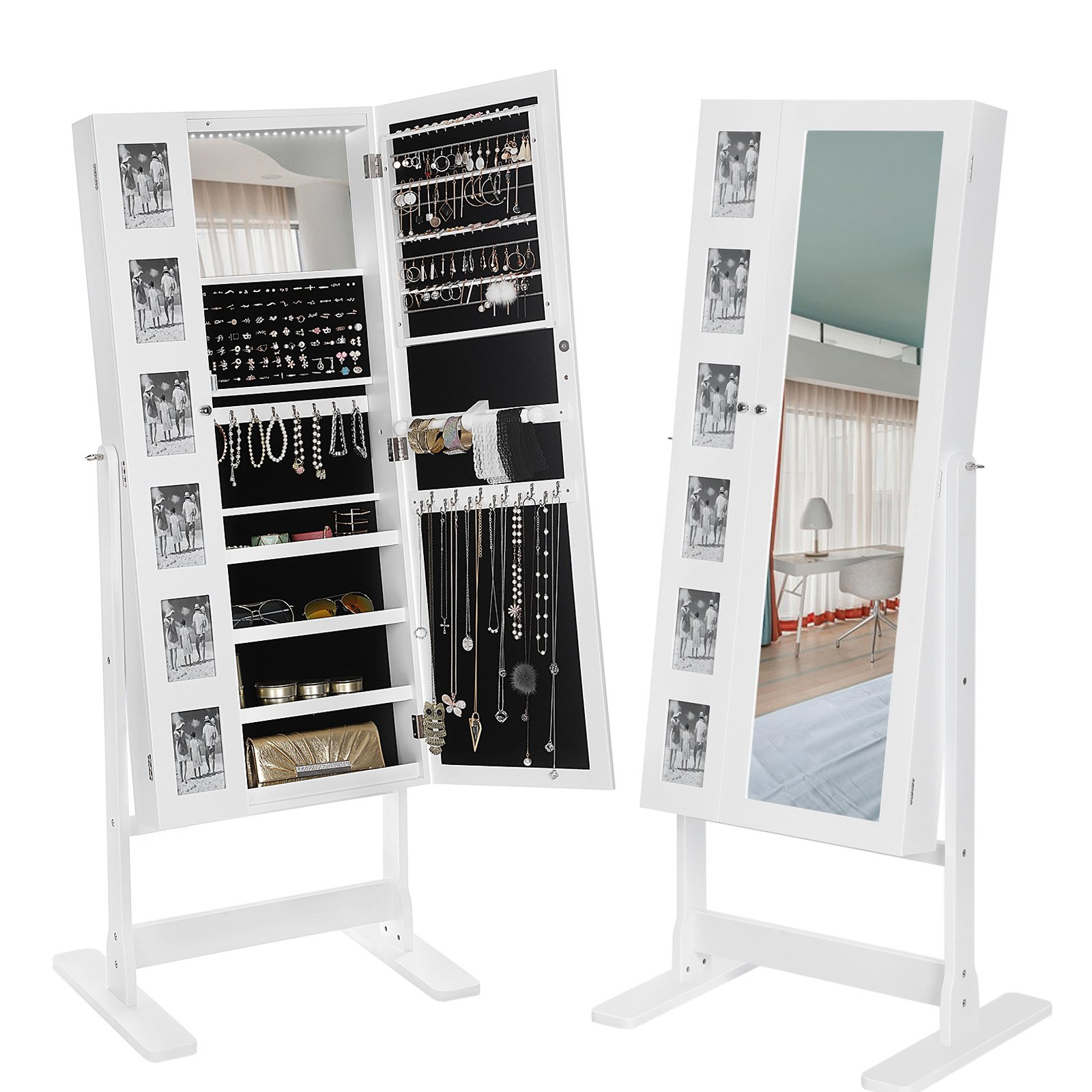 SONGMICS 18 LEDs Jewelry Cabinet Mirrored Standing Jewelry Armoire Organizer with 6 Photo Frames White UJJC92W
