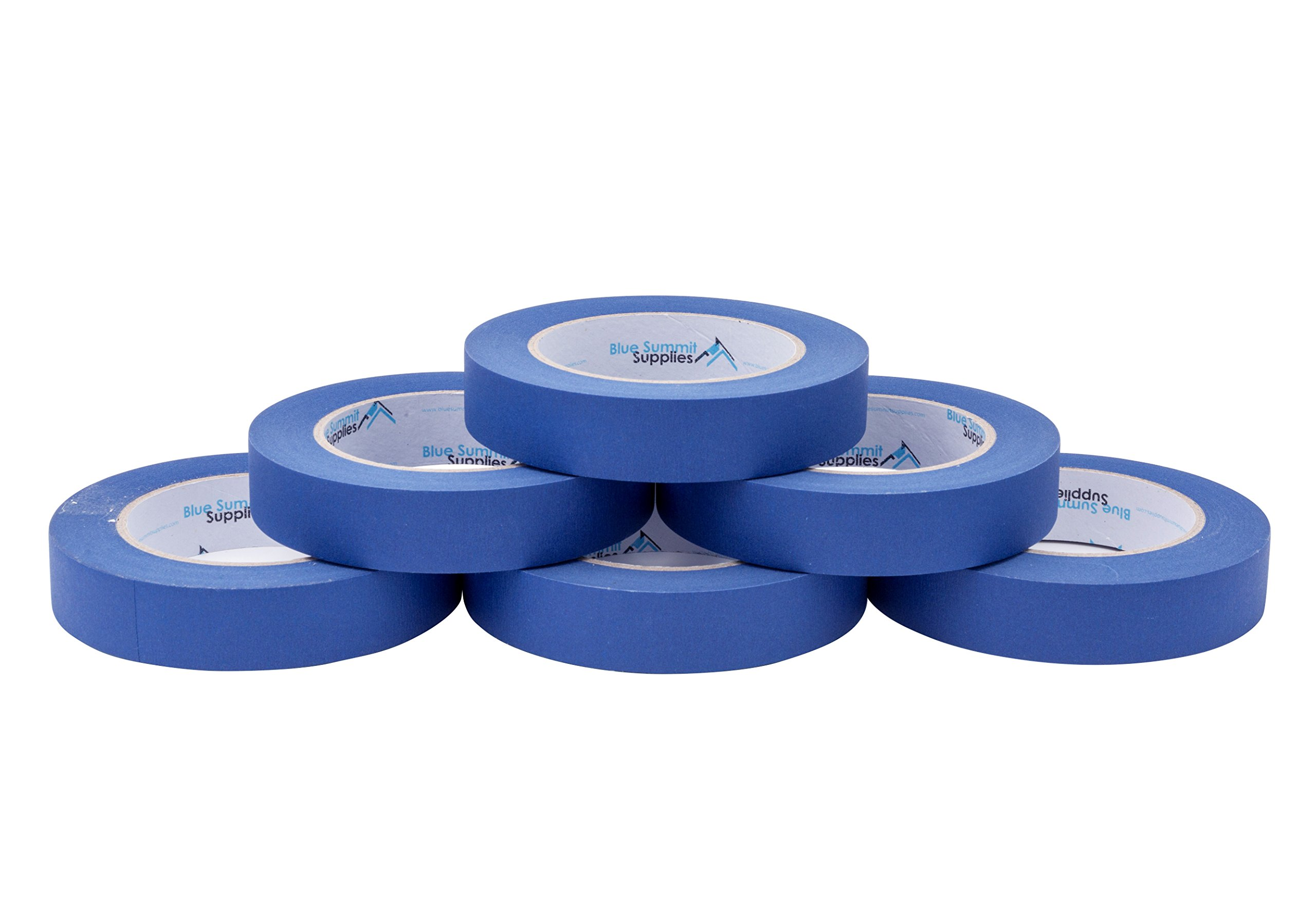 6 Pack 0.94 Inch Blue Painters Tape, Medium Adhesive That Sticks Well but Leaves No Residue Behind, 60 Yards Length, 6 Rolls, 360 Total Yards by Blue Summit Supplies