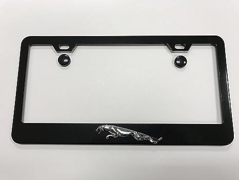 Amazon.com: 3D Jaguar Leaper Black Metal License Plate Frame Tag ...