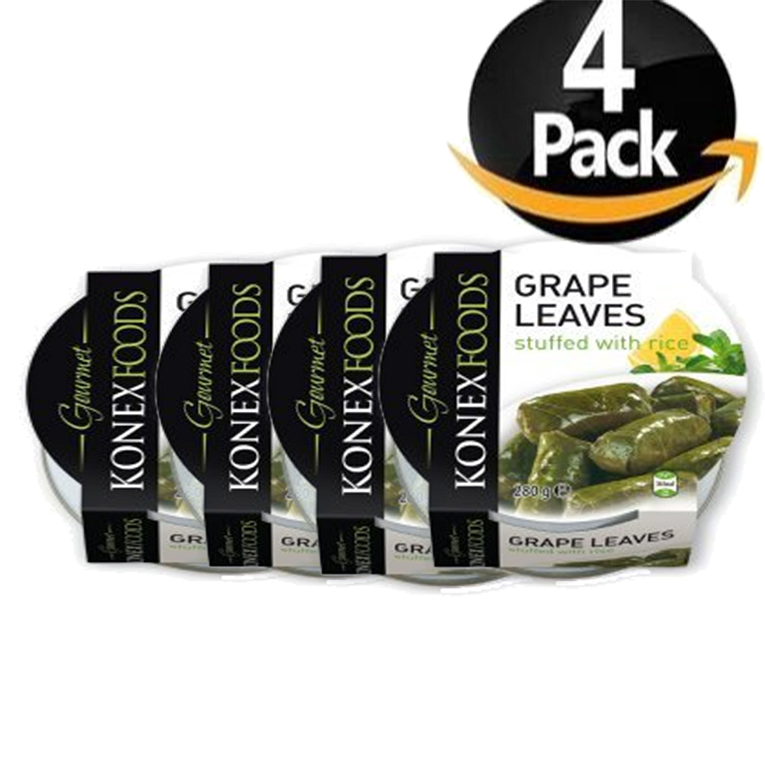 Konex Foods Grape Leaves Stuffed with Rice (Pack of 4) 9.9 oz each by Konex Foods Grape Leaves Stuffed with Rice