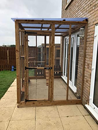 4 Cables Catio Cat Run Lean a 6 pies x 9 pies x 7 pies 5 Cubierta Impermeable: Amazon.es: Productos para mascotas