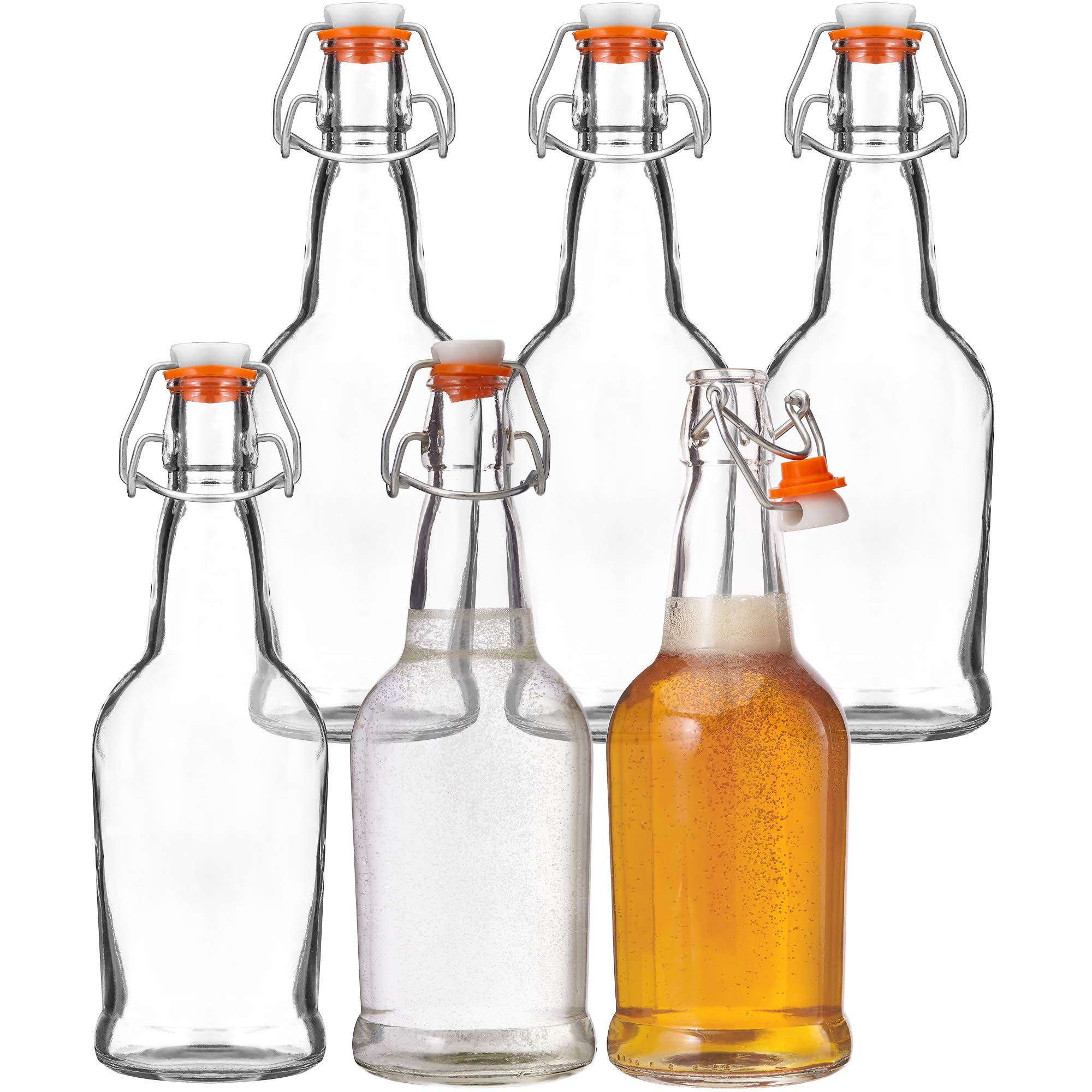 Kitchen Lux Glass Beer Bottles with Swing Top Cap, 6 Pack – Home Brewing Grolsch Bottle Set – Airtight Rubber Silicone Lid for Kombucha, Dressings and More