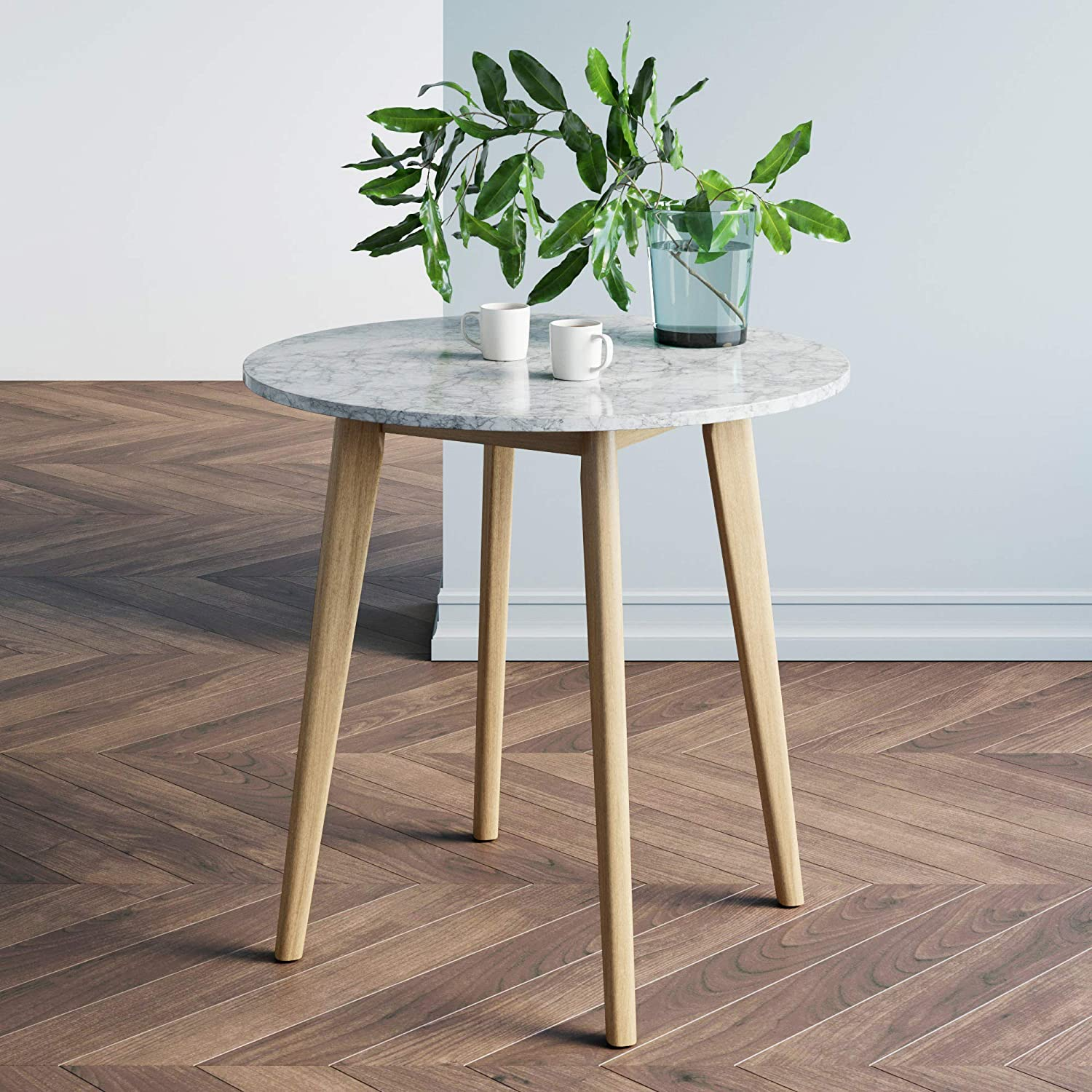 Amazon Com Nathan James Amalia Round Bistro Dining Table With Legs In Tan Wood Finish And Faux White Carrara Marble Top Light Brown Furniture Decor