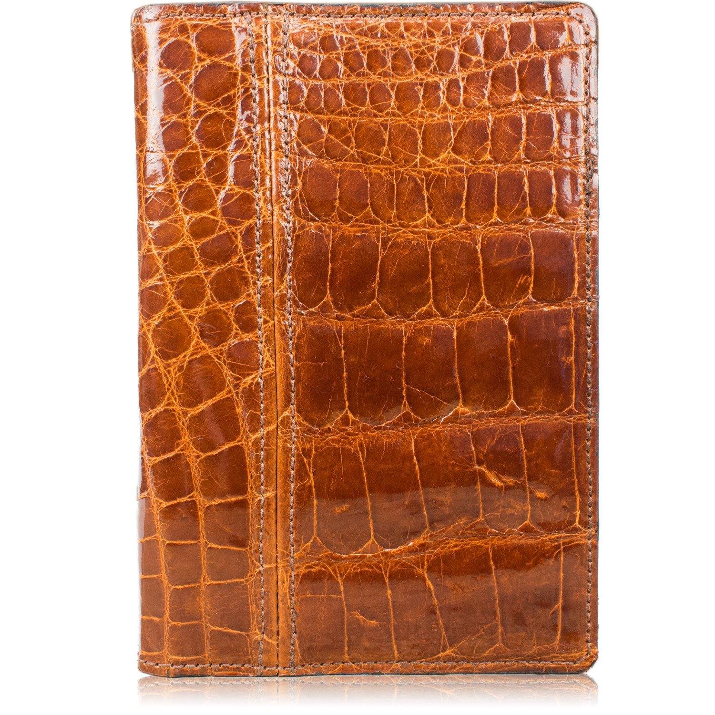 Genuine Florida Alligator Skin Notebook Padfolio (Small 5x8 Notepad, Cognac)