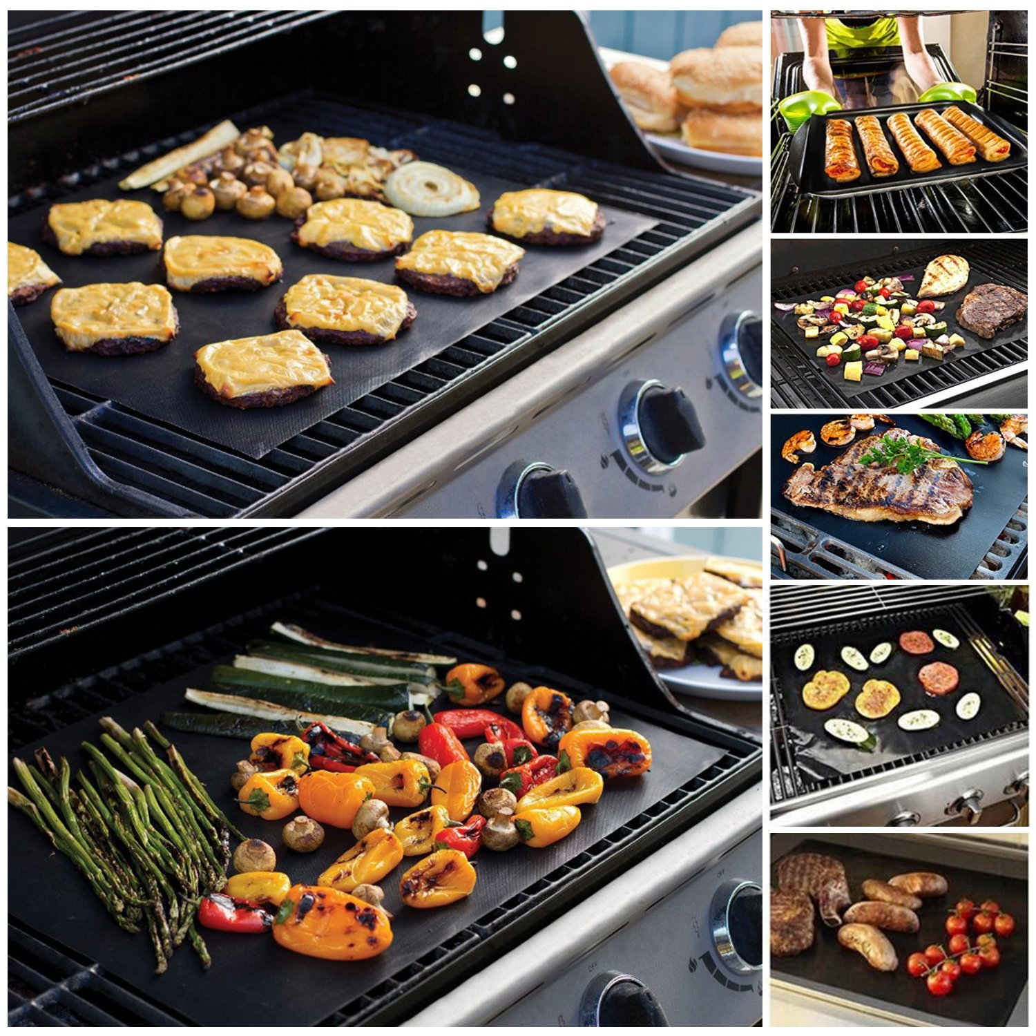 FLY5D BBQ Grill Mat and Bake Mat Set of 5 Non Stick Grill & Baking Mats - Reusable, PFOA Free, FDA Approved, Easy to Clean for Gas, Charcoal, Electric Grill, Oven, Grilling Meat (Copper)