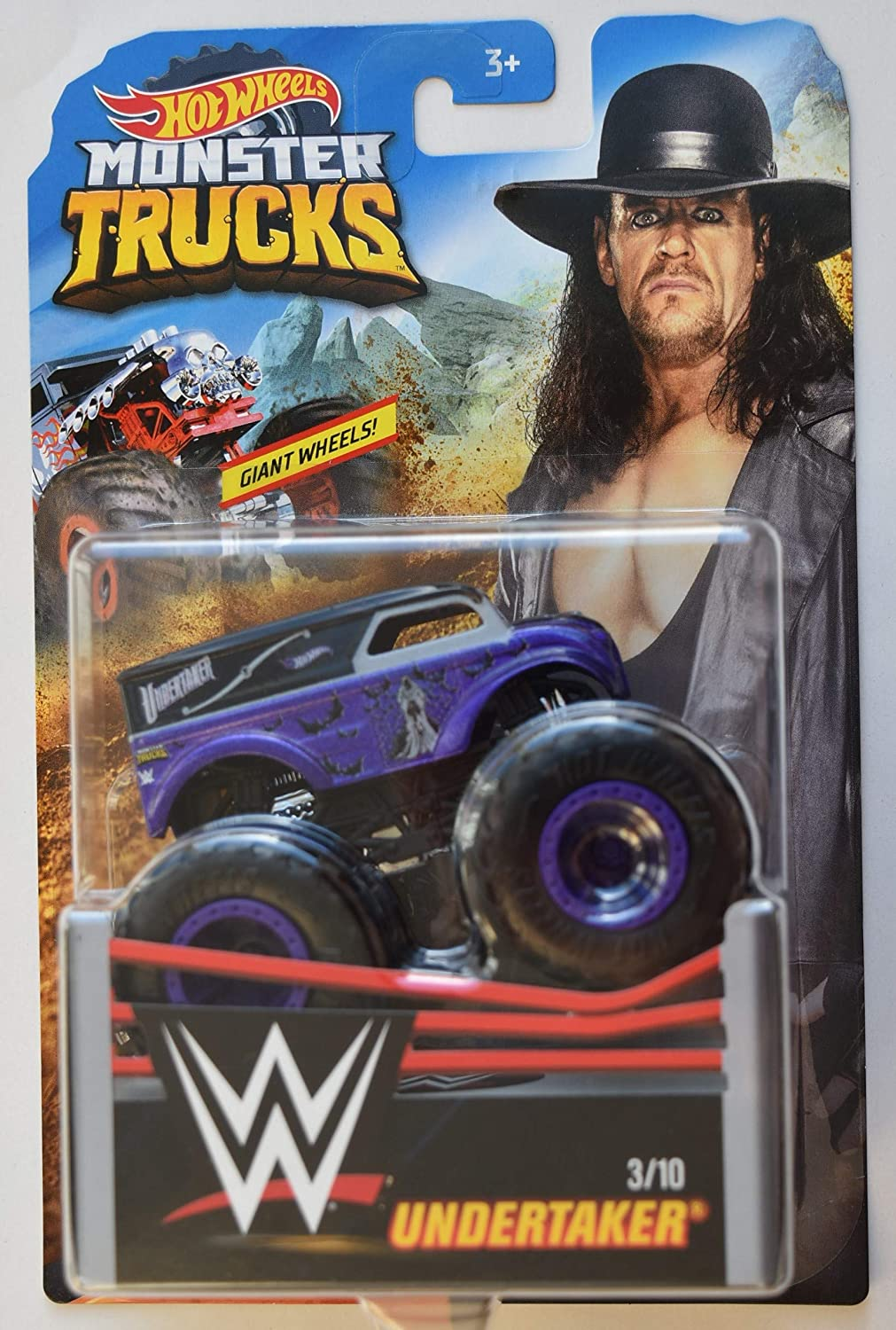 Amazon Com Hot Wheels Monster Trucks 1 64 Scale Undertaker 3 10 Giant Wheels Toys Games