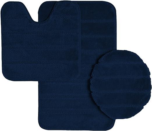 High Pile 3 Piece Bathroom Set Bath Mat Contour Rug /& Lid Cover Light Blue Navy
