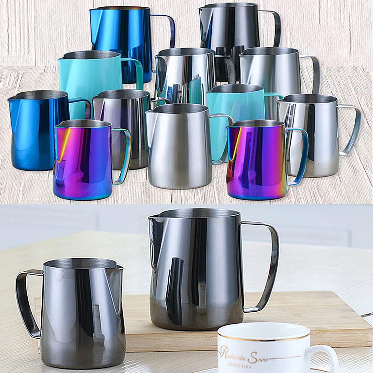 8th team Stainless Steel Milk Frothing Pitcher 350ml/600ml - Perfect for Espresso Machines, Milk Frothers, Latte Art (colorful, 350ml)