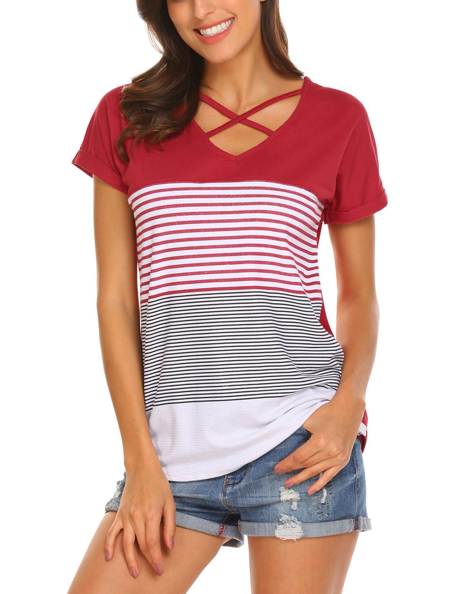 Venena Women's Short Sleeve Triple Color Block Stripe Criss Cross T Shirt Tunic Tops
