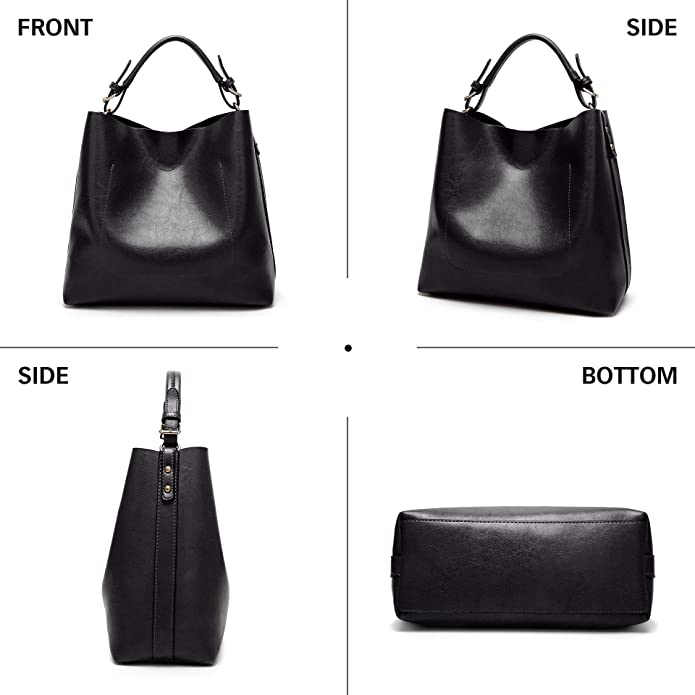 29076a5d4af12 Amazon.com  BAIGIO Women s PU Leather Purses and Handbags Vintage Hobo Tote  Satchel Designer Shoulder Bags with Removble Crossbody Bags (Black-2)  Shoes