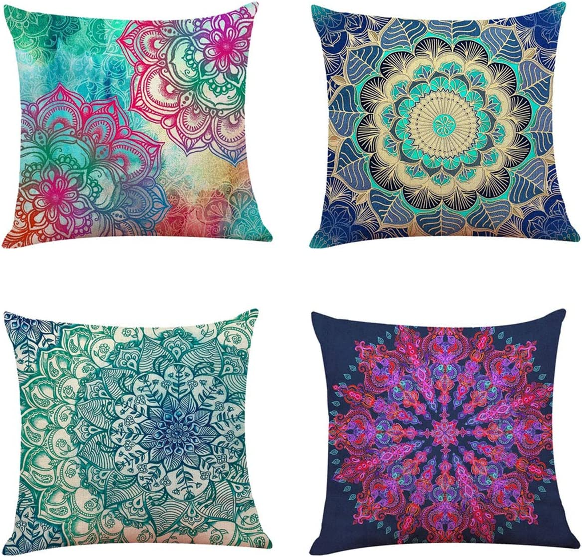 Longyier Pillow Covers 18x18 Inch, Decorative Throw Pillow Cover for Couch Sofa Bed,Linen Fabric Retro Medallion Mandala Bohemian Boho Throw Pillows (Set of 4)
