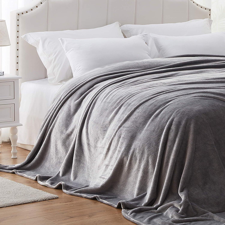 Hboemde Fleece Blanket Queen Size Grey Soft Flanne Bed Blankets as Bedspread Coverlet for Bed Coush Sofa - Lightweight, Cozy Microfiber (90x90)