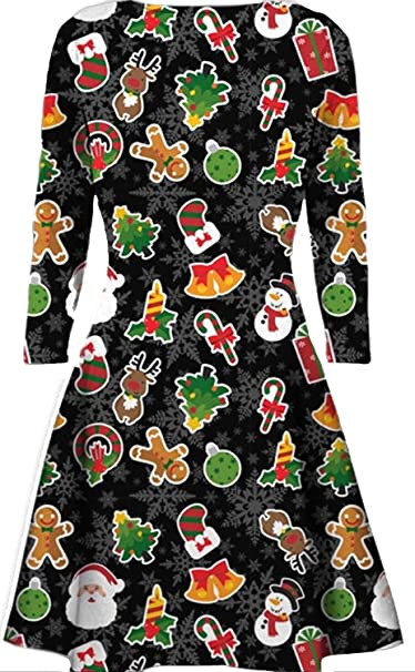 Kids Santa Reindeer Swing Dress Girls Xmas Flared Franki Christmas Rudolph Dress