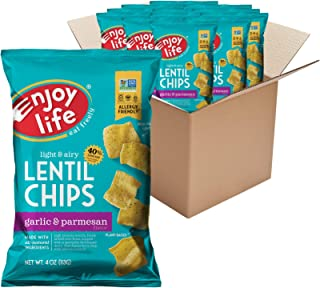 product image for Enjoy Life Garlic and Parmesan Lentil Chips, Dairy Free Chips, Soy Free, Nut Free, Non GMO, Vegan, Gluten Free, 12 - 4 oz Bags