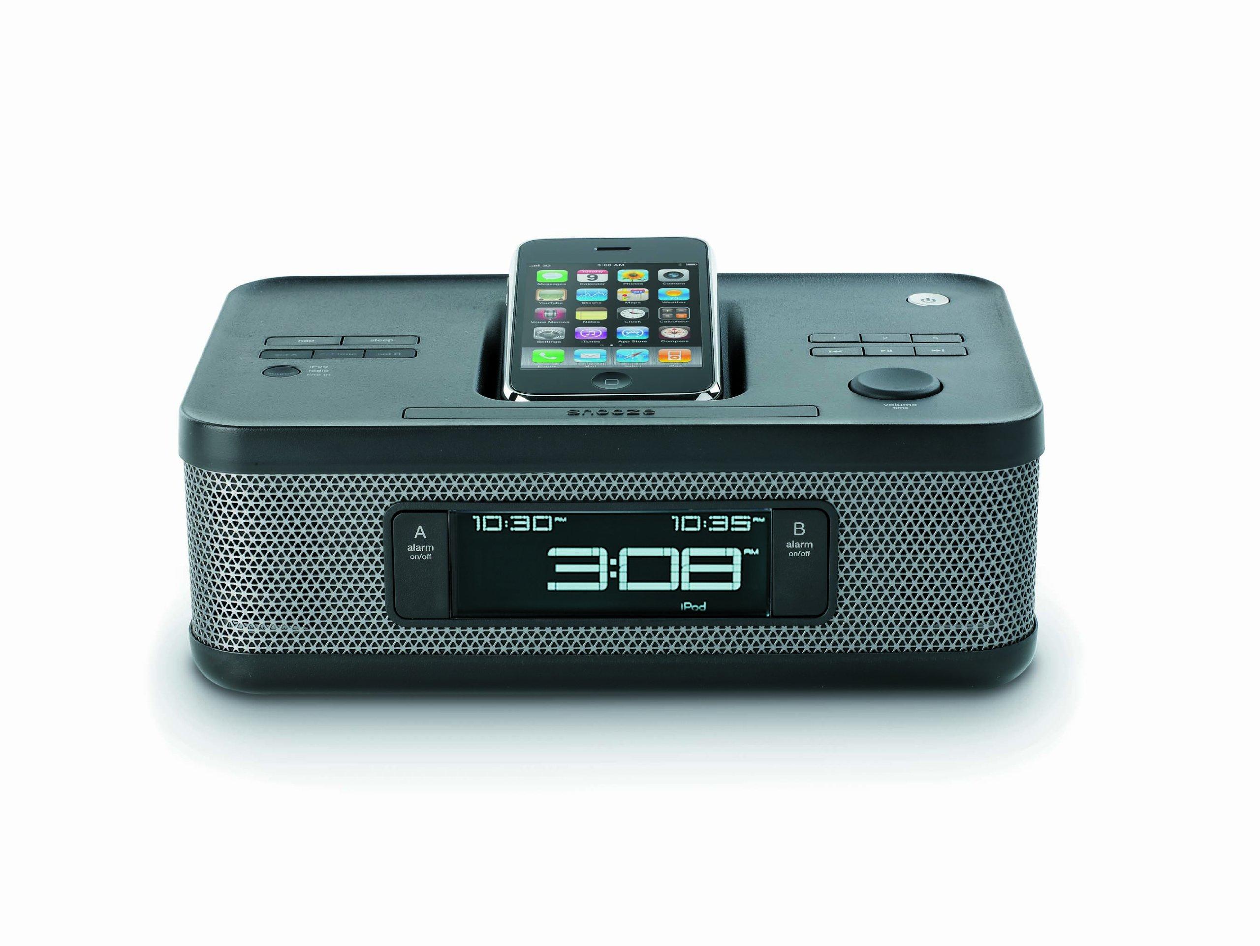 Memorex MI4703P 30-pin Dual Alarm Clock Radio for iPod and iPhone (Black) by Memorex