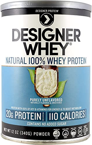 Designer Protein 100 Premium Whey Protein Powder, Purely Unflavored, 12-Ounce Canister Pack of 2 , Made in the USA