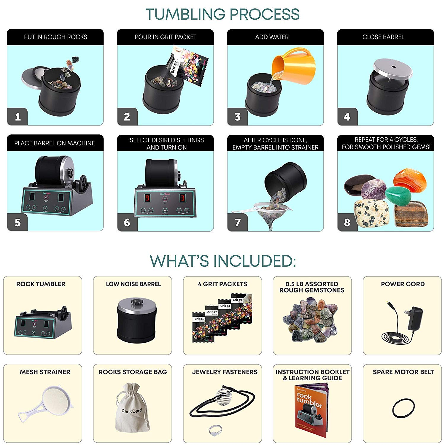Advanced Professional Rock Tumbler Kit with Digital 9-day timer and 3-speed settings Study Geology /& Mineralogy Turn Rough Rocks into Beautiful Gems Great Science Kit /& STEM Gift for all ages