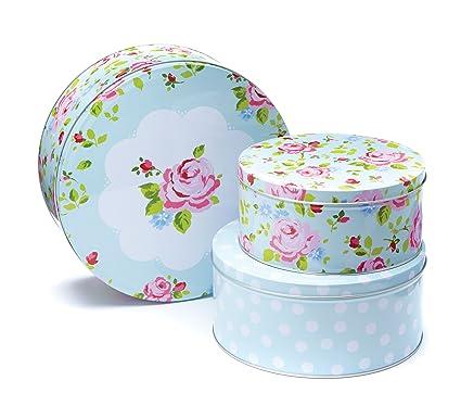 Smartbox Cooksmart - Cajas de lata para pasteles, modelo Vintage Floral, juego de 3