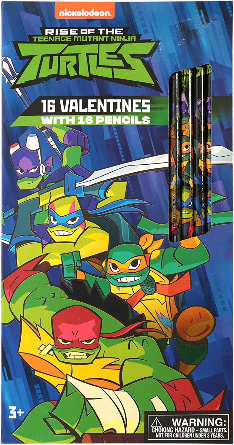 Paper Magic Group 4555585-ACAMZ Teenage Mutant Ninja Turtles Nickelodeon Valentines Day Cards and Pencils for Kids, 32 Piece