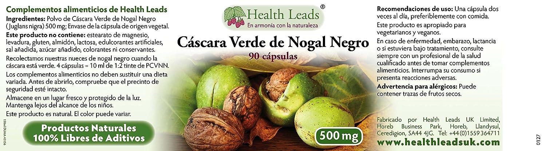 Polvo de Cáscara Verde de Nogal Negro (PCVNN) 500mg x 90 cápsulas: Amazon.es: Salud y cuidado personal