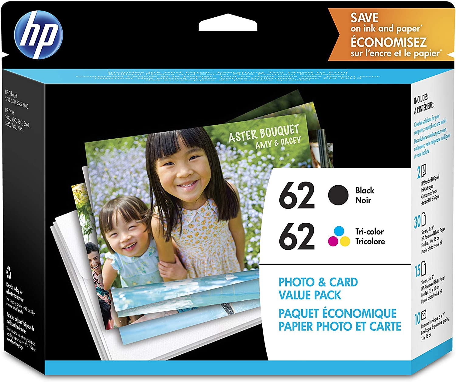 HP 62 | 2 Ink Cartridges with Assorted Photo Paper | Black, Tri-color | C2P04AN C2P06AN
