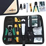 Safekom RJ45 Cat5 Cat5e Cat6e Cat6 Cat7 RJ11 RJ12 Crimp Crimper Crimping Tool Stripper Stripping Tools Cable Tester Multi Punch Down Tool Screwdriver LAN Network Ethernet Cabling Hand Tools Kit