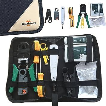 Safekom - Juego de herramientas con crimpadora, herramientas pelacables, probador de cables, perforadora