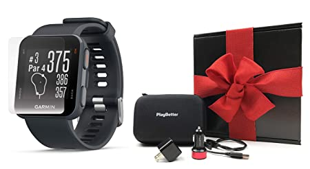 Garmin Approach S10 Granite Blue Gift Box Bundle Includes Screen Protectors, PlayBetter USB Car Wall Charging Adapters, Protective Case Golf GPS Watch, 40,000 Courses Black Gift Box, Red Bow