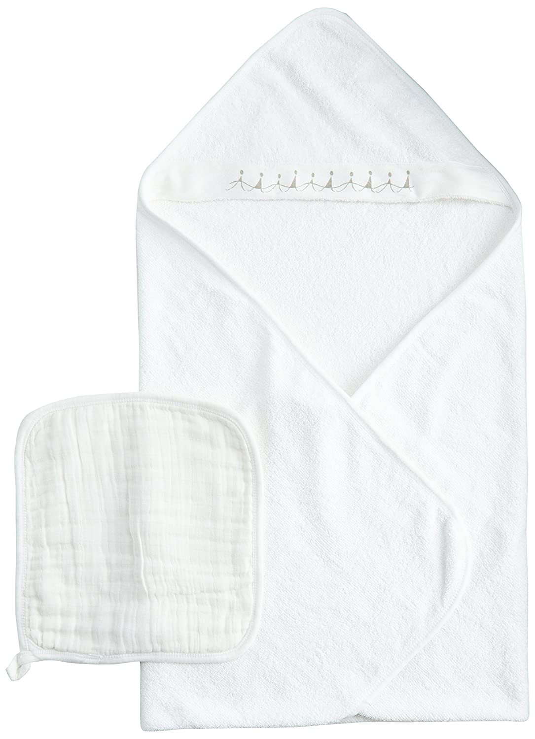 aden + anais 100-Percent Cotton Muslin Hooded Towel and Washcloth, Water Baby, White, 1 Pack 3020