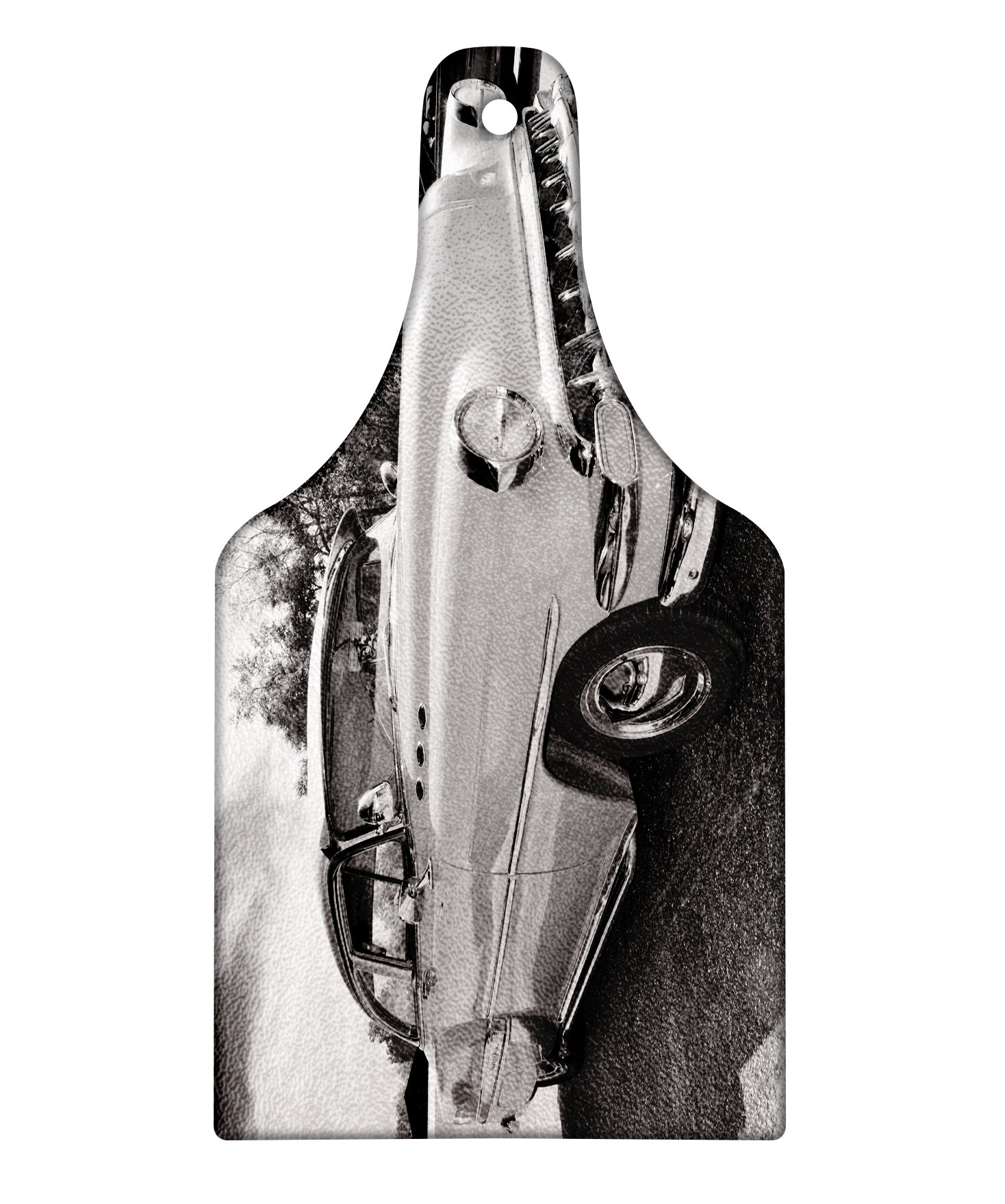 Lunarable Vintage Cutting Board, 50s 60s Retro Classic Pin Up Style Cars in Hollywood Movies Image Artwork, Decorative Tempered Glass Cutting and Serving Board, Wine Bottle Shape, Black White and Gray