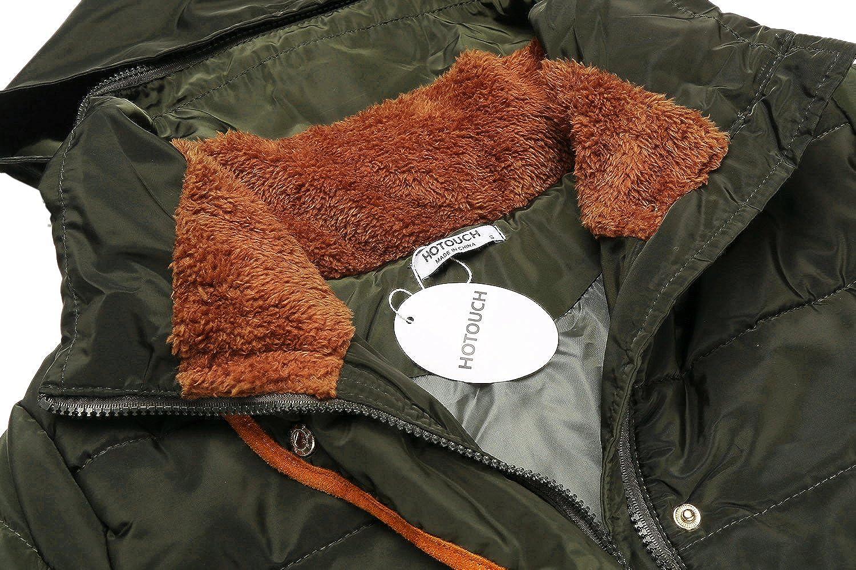 HOTOUCH Damen Jacke Steppjacke Übergangsjacke mit Kapuze Wintermantel Kurz Winterjacke Fellkragen